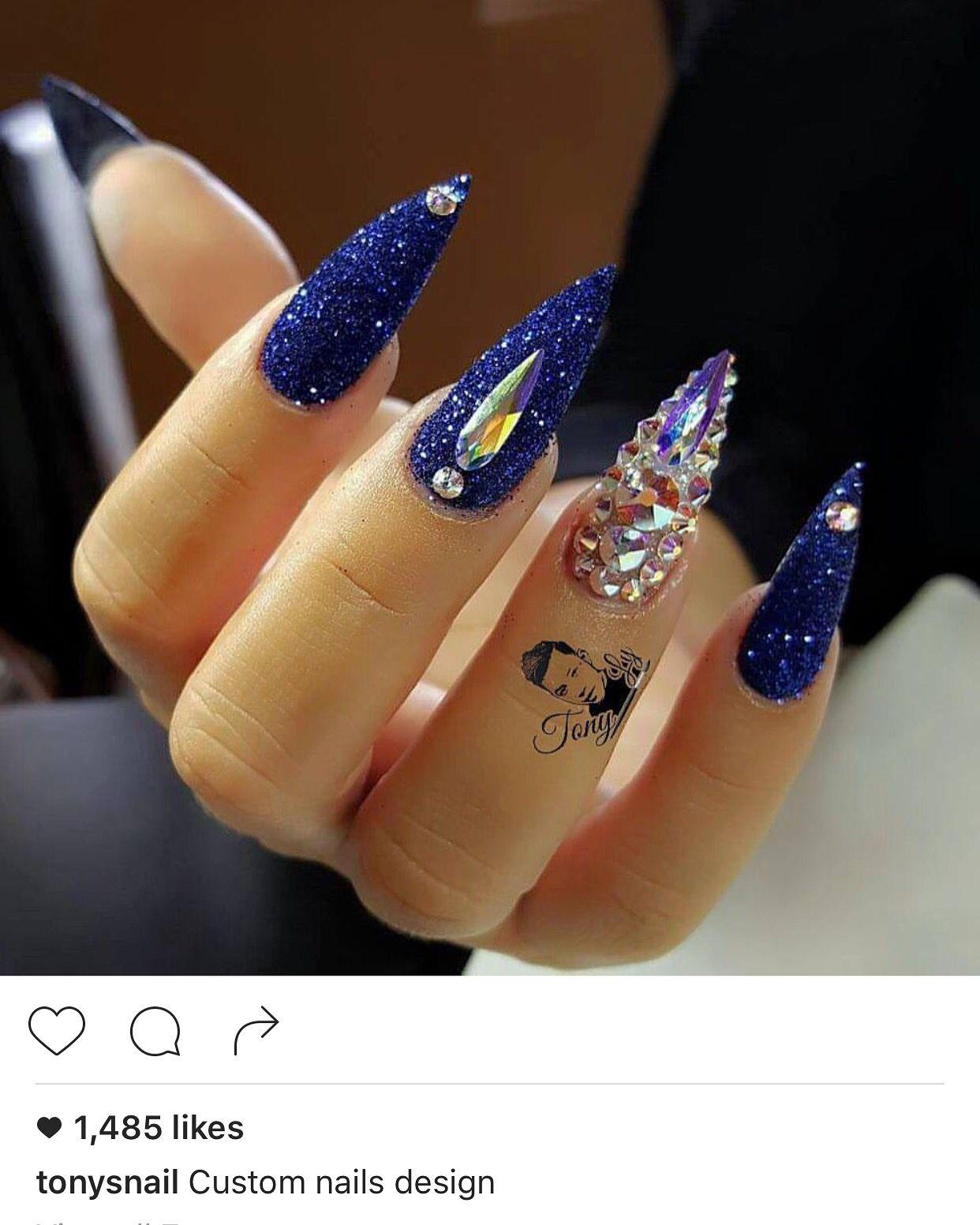 Blue glitter ombr 233 stiletto nails - My Amazing Nail Done By Tonysnail On Instagram