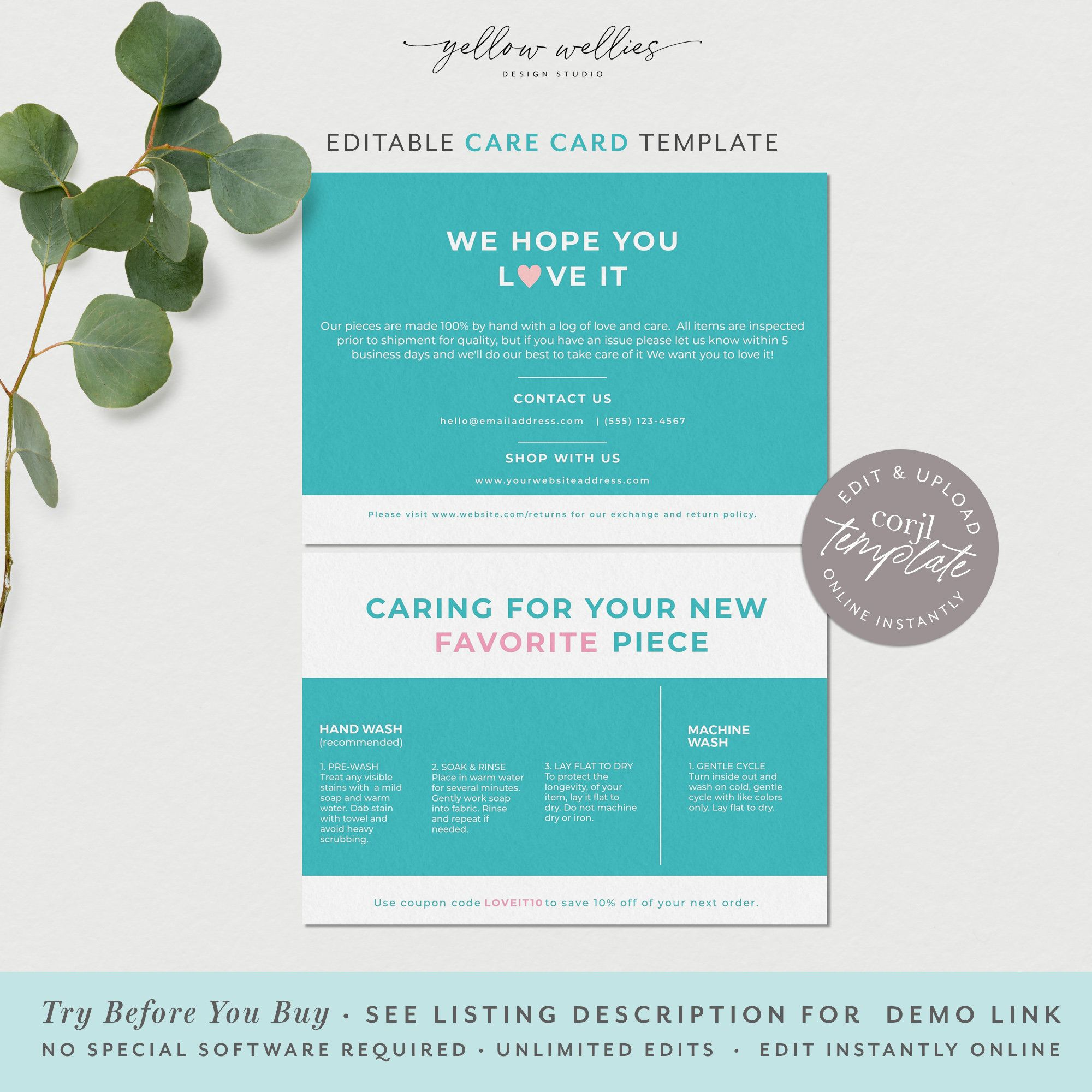 Editable Wash Instructions Care Card Template Product Care Etsy Coupon Template Business Template Card Template