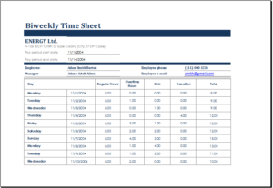 Biweekly Time Sheet Template Download At HttpWwwTemplateinn