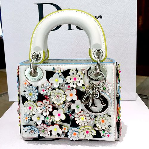 26b736e0cf41 Christian Dior Lady Dior Satin Hand-Embroidered Micro Bag with flower  delicate
