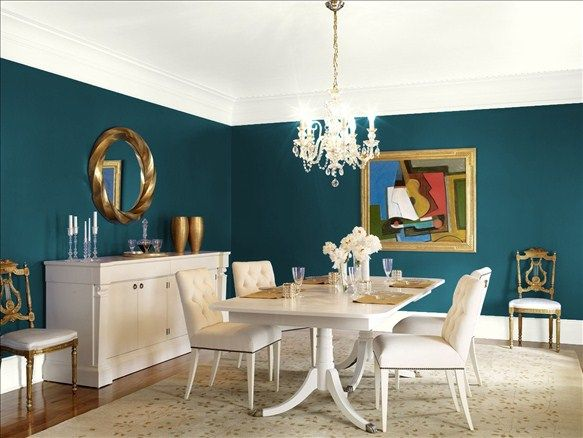 Benjamin Moore Dark Harbor Dining Room Colors Dining Room Paint Colors Dining Room Teal