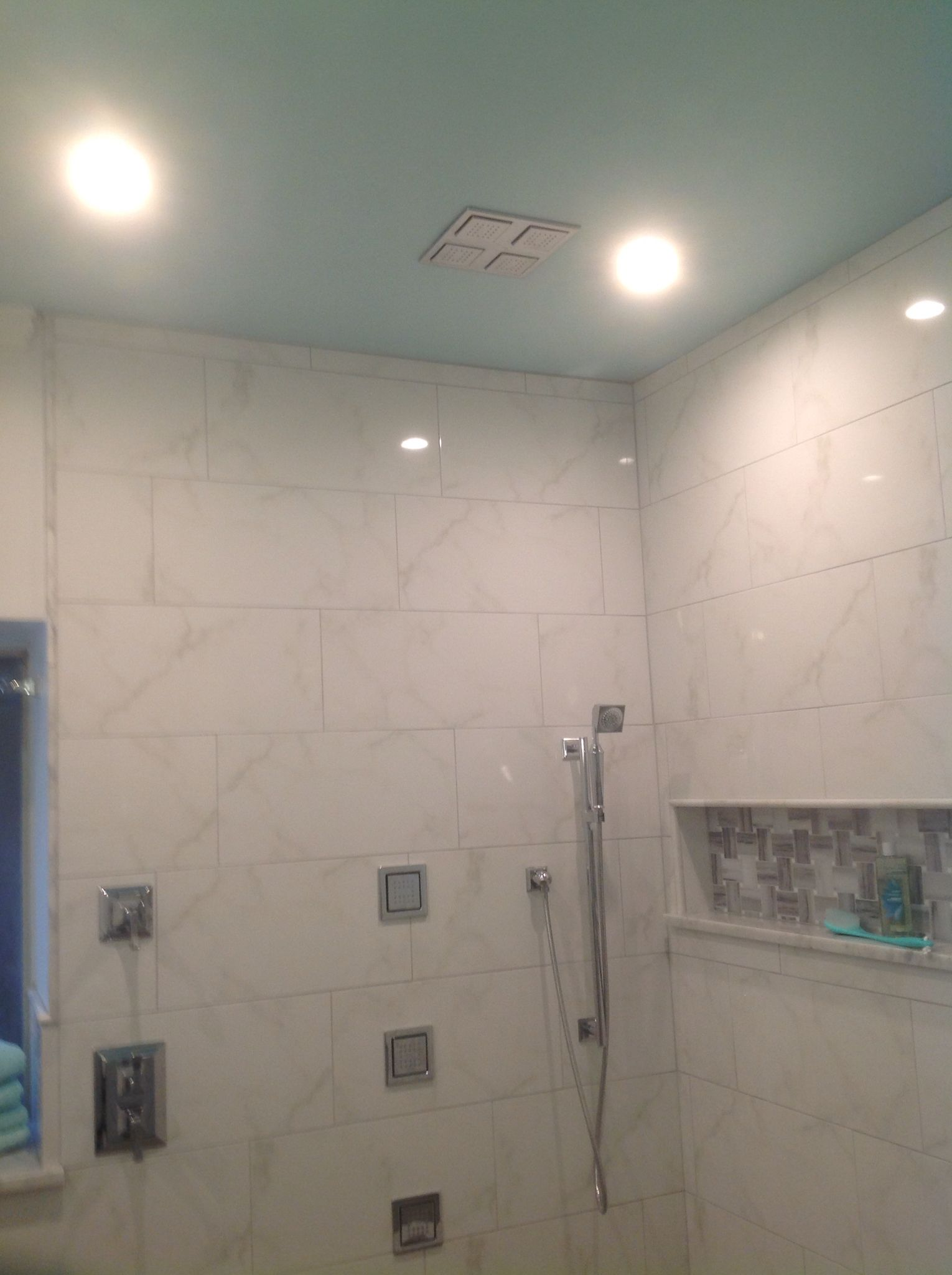 Kohler Ceiling Rain Shower In Ceiling Painted Tranquil Vibe By