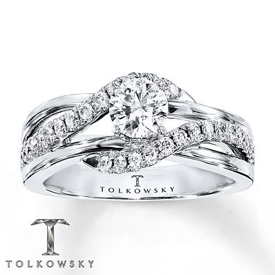 Tolkowsky Engagement Ring 3/4 ct tw Diamonds 14K White Gold mwA7pyw