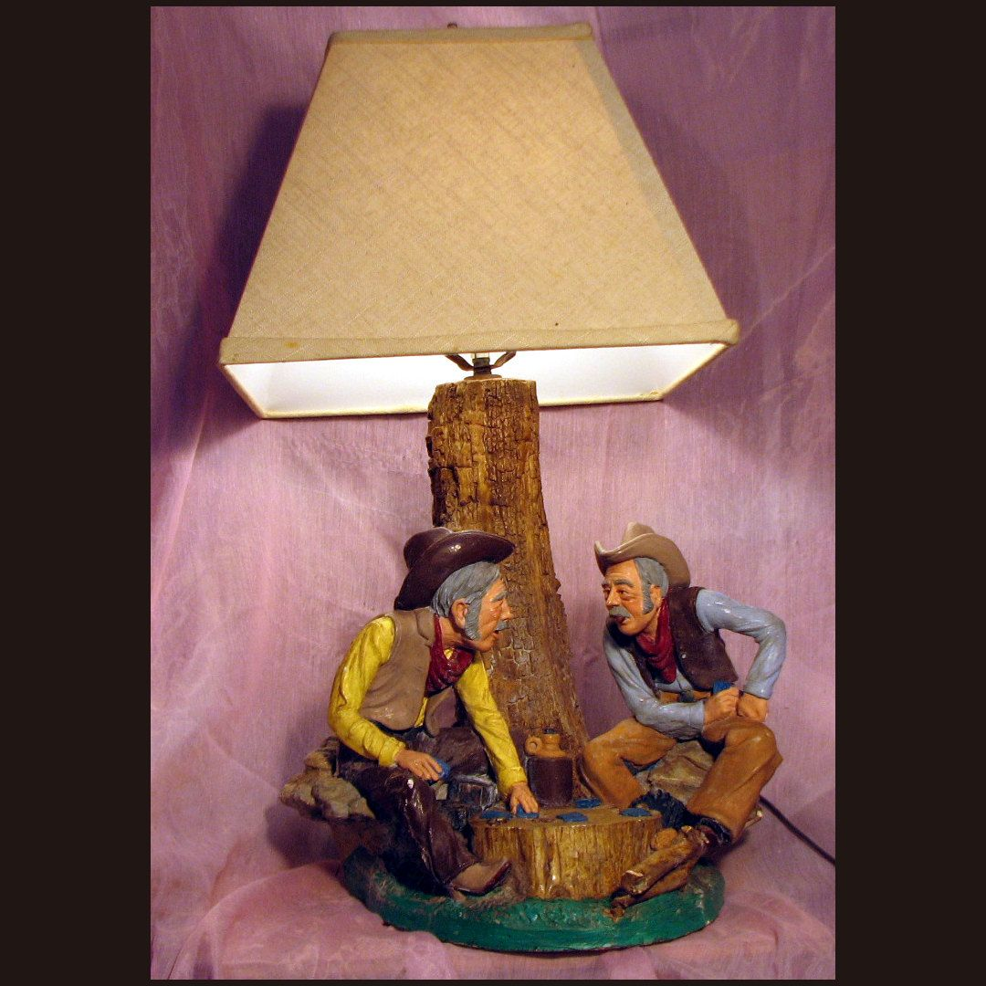 Cowboy Table Lamp, Western Style Light, Saloon Themed Light, Country Themed  Lamp, Cowboys Playing Poker, Old West Table, Aspit Brothers,
