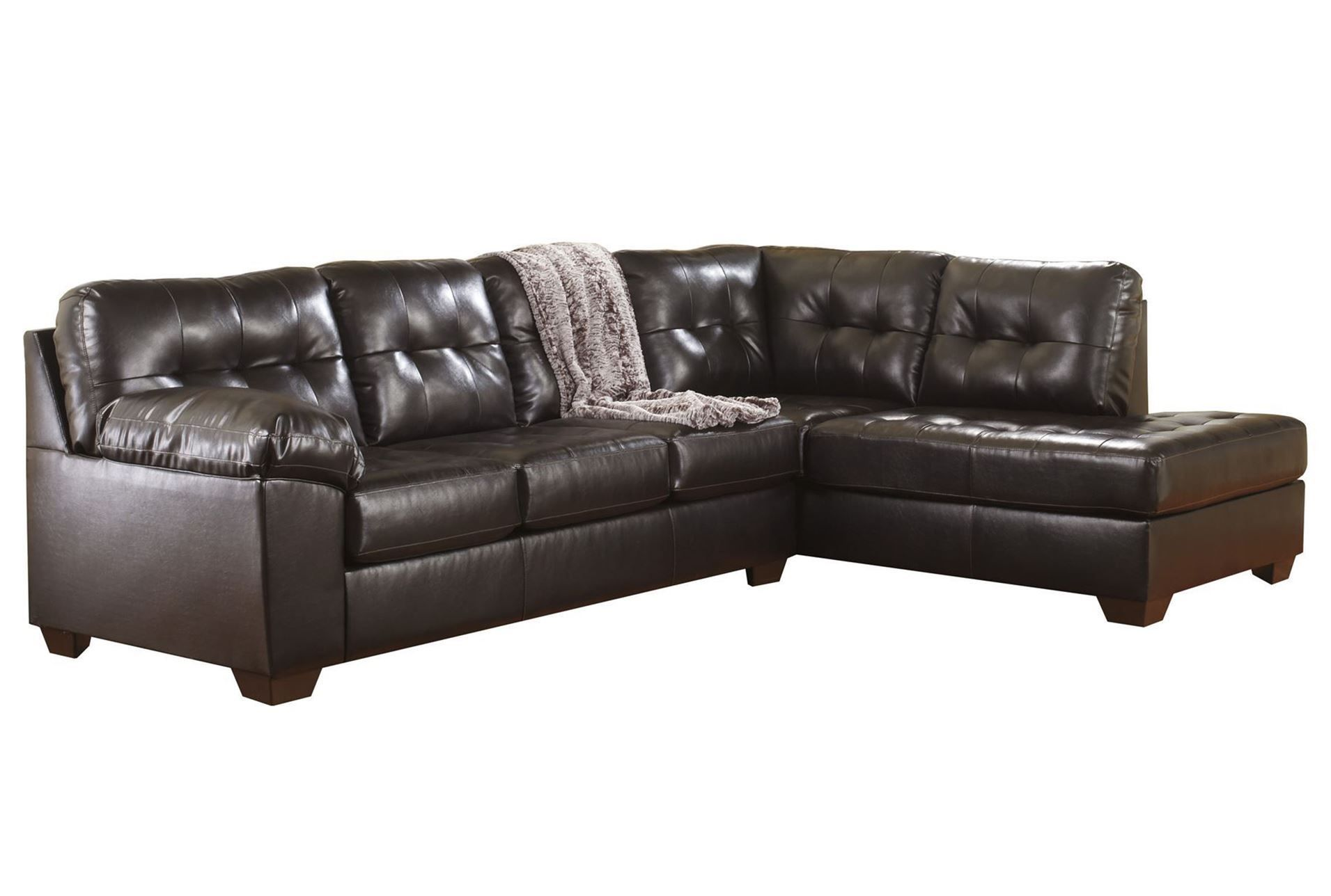 Alliston Chocolate 2 Piece Sectional W Raf Chaise