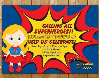 Girl Superhero Party Superhero Invitation Supergirl Invitation