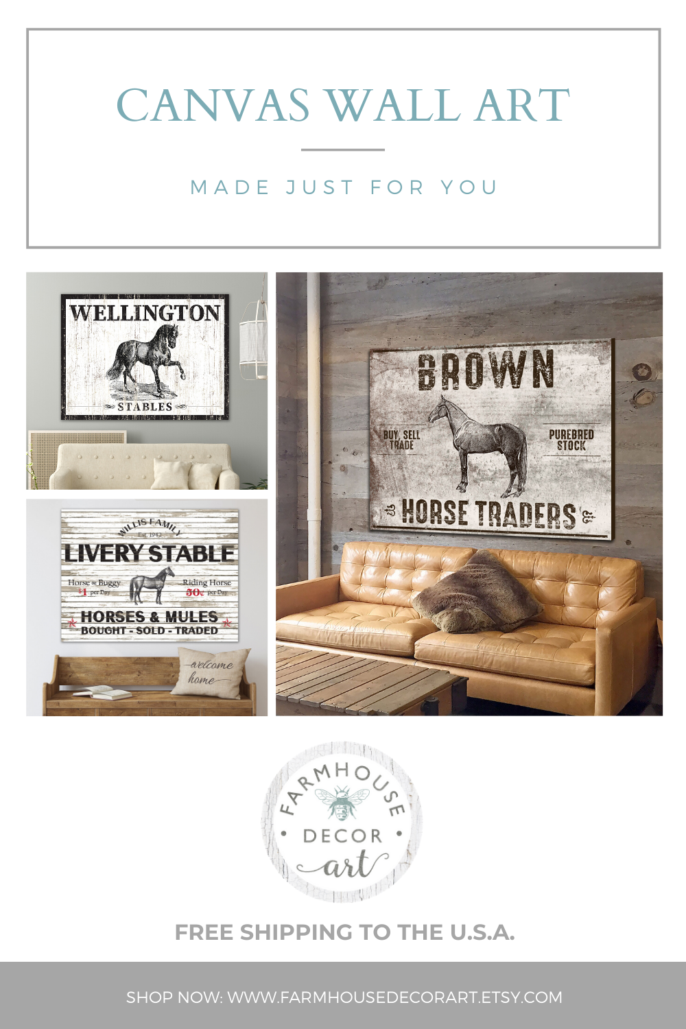Rustic Country Wall Decor Personalized Horse Art Canvas Art By Farmhouse Decor Art Rustic Country Wall Decor Country Wall Decor Rustic Art Decor