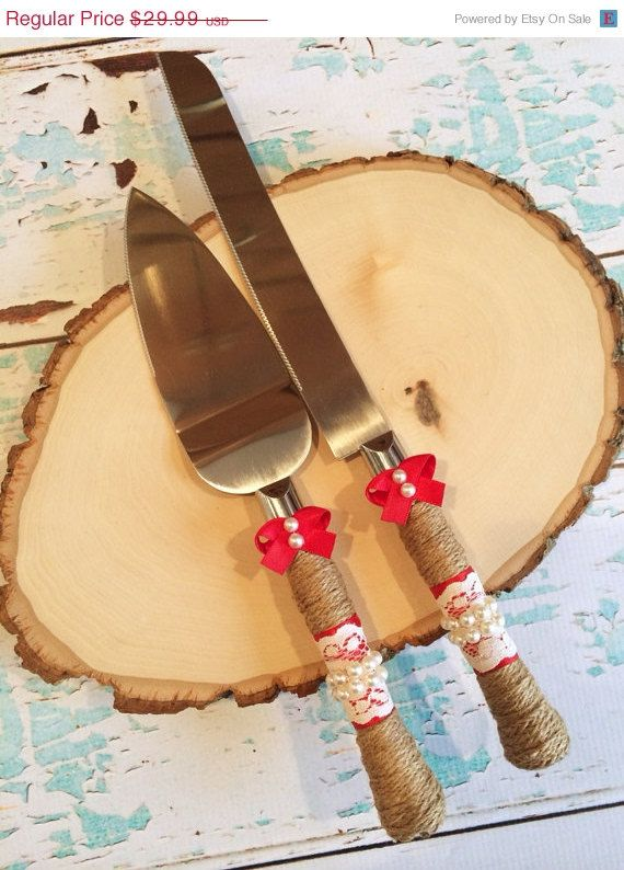 Sale ((LOOK)). Wedding cake knife set / burlap knife set / cake ...