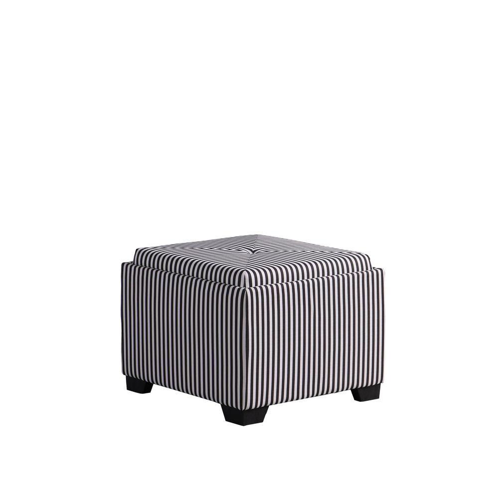 Strange Black And White Stripes Single Tufted Storage Ottoman Hb4772 Machost Co Dining Chair Design Ideas Machostcouk
