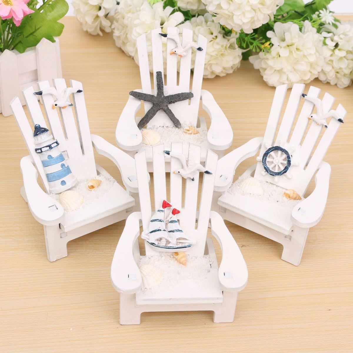 Kids GIFT Mini Fairy Garden Wood Chair Bench Model Doll House Decor Helmsman
