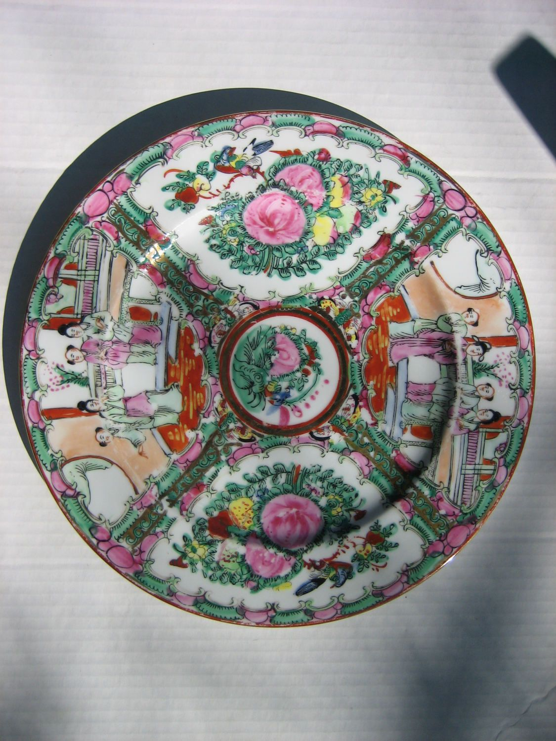 Vintage Chinese Famille Rose Medallion Porcelain Export Multi-Colored Hand-Painted Decorative Plate w & Vintage Chinese Famille Rose Medallion Porcelain Export Multi ...