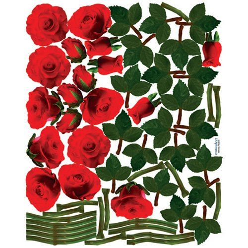 Easy Instant Decoration Wall Sticker Decal Crimson Rose Vines