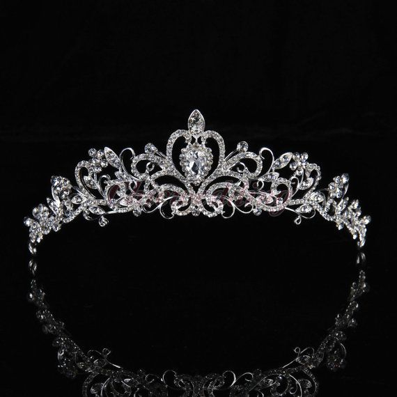 Extraordinary Rhinestone Tiara Crown By Yesteryearglam On Etsy 89 95 Wedding Crown Veil Crystal Tiaras Wedding Accessories