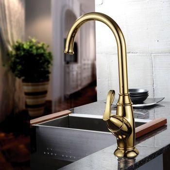 Belle Single Handle Kitchen Faucet Gold - US$109.99 : Homary.com ...