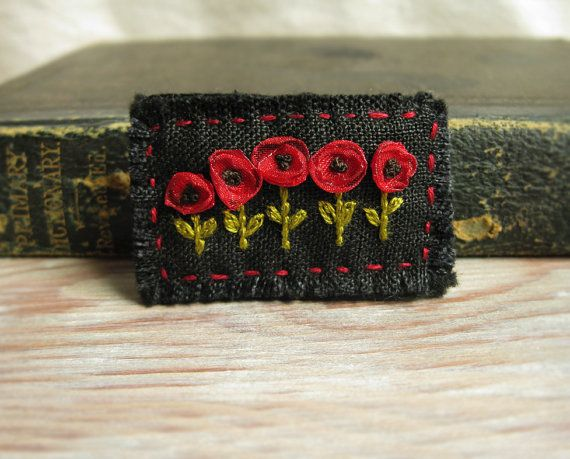 Red Poppies Embroidered Brooch by Sidereal on Etsy, $25.00