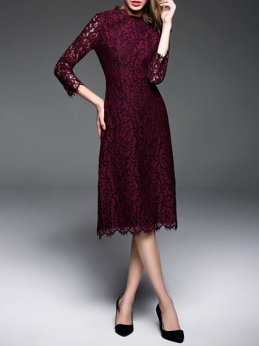f1234c32aded Shop Midi Dresses - Burgundy A-line Guipure Lace Long Sleeve Midi Dress  online. Discover unique designers fashion at StyleWe.com.