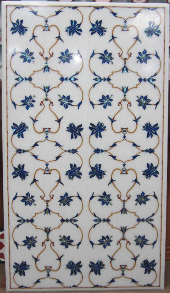 White Marble Lapislazuli Inlaid Mughal Floral By