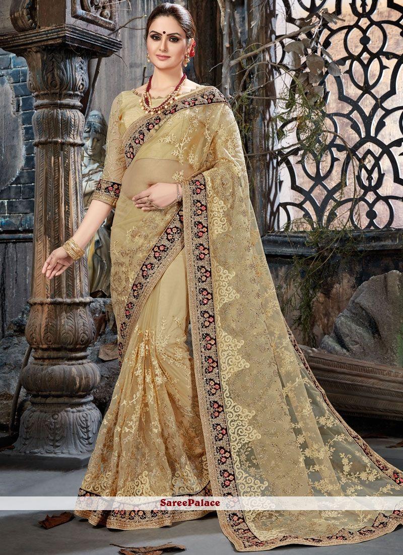 f233a163b7 Classic Saree Zari Net in Beige | Designer Sarees | Saree, Lehenga ...