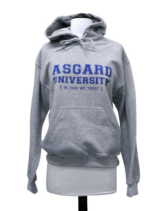 If your Alma mater was Asgard University then you definitely need this  hoodie! This design is printed in royal blue ink on a heather grey UNISEX  hoodie. 998c48025b