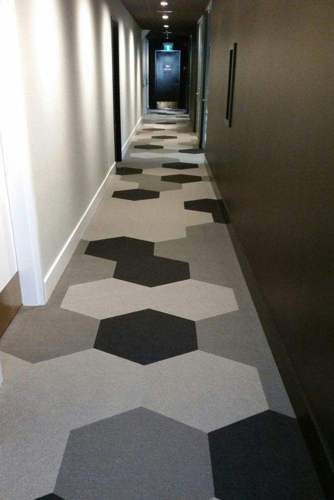 marine building corridor using shaw hexagon carpet tile
