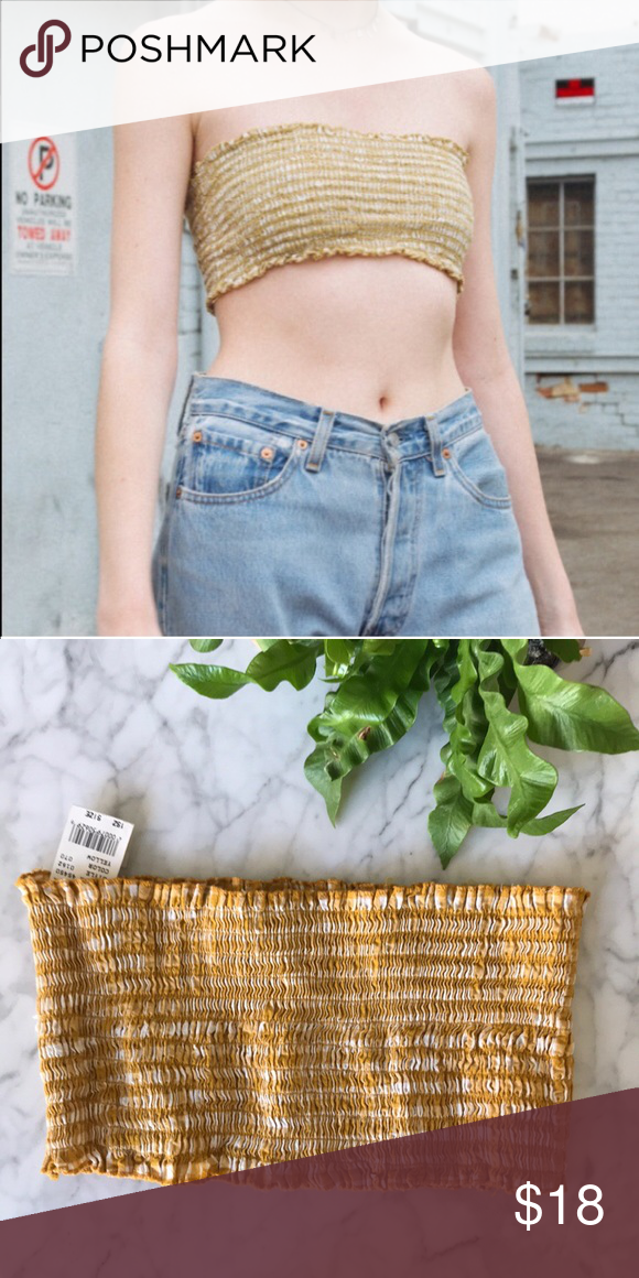 baf25c1fb8e Brandy Melville Kessy smocked Tub Crop Top -yellow New with tags! SAME Day  shipping