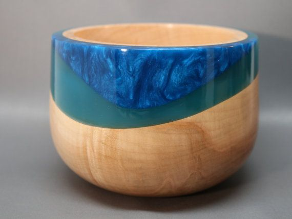 Handmade Wooden Bowl Made From Maple And Teal Resin With