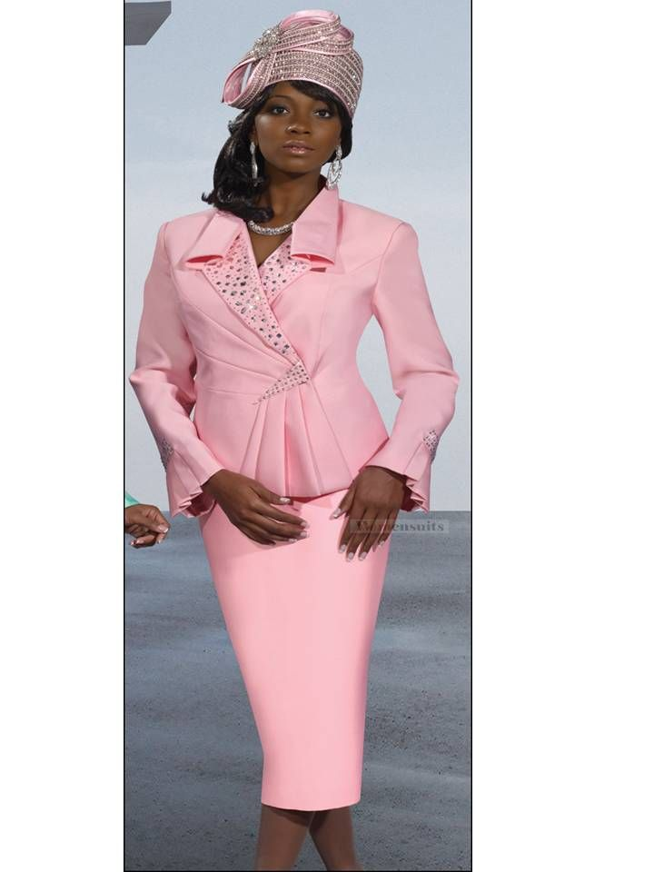 Easter Sunday Church Womens Pink Silk Look Suit From Donna Vinci