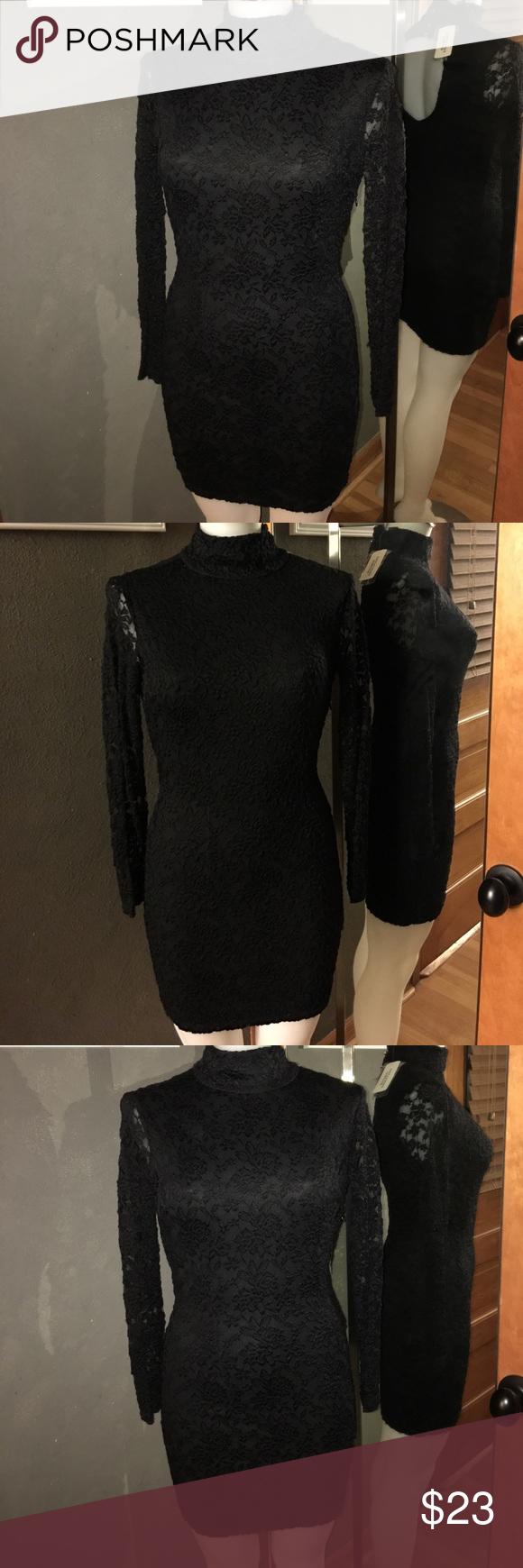 Nwt cutout back black lace dress high collar lace dress black and