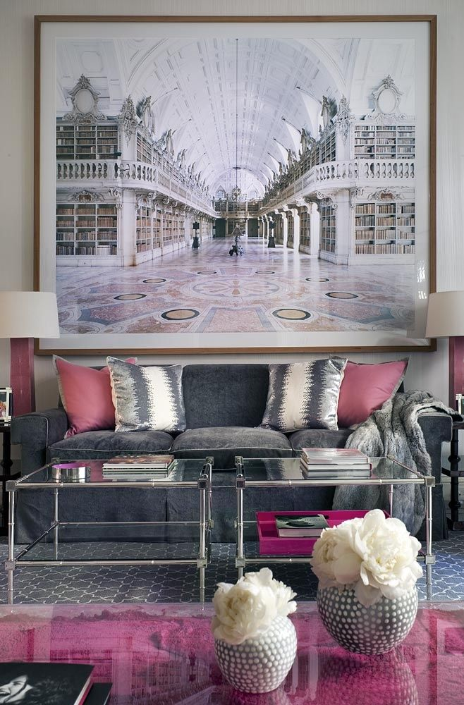 Fuschia And Gray Living Rooms