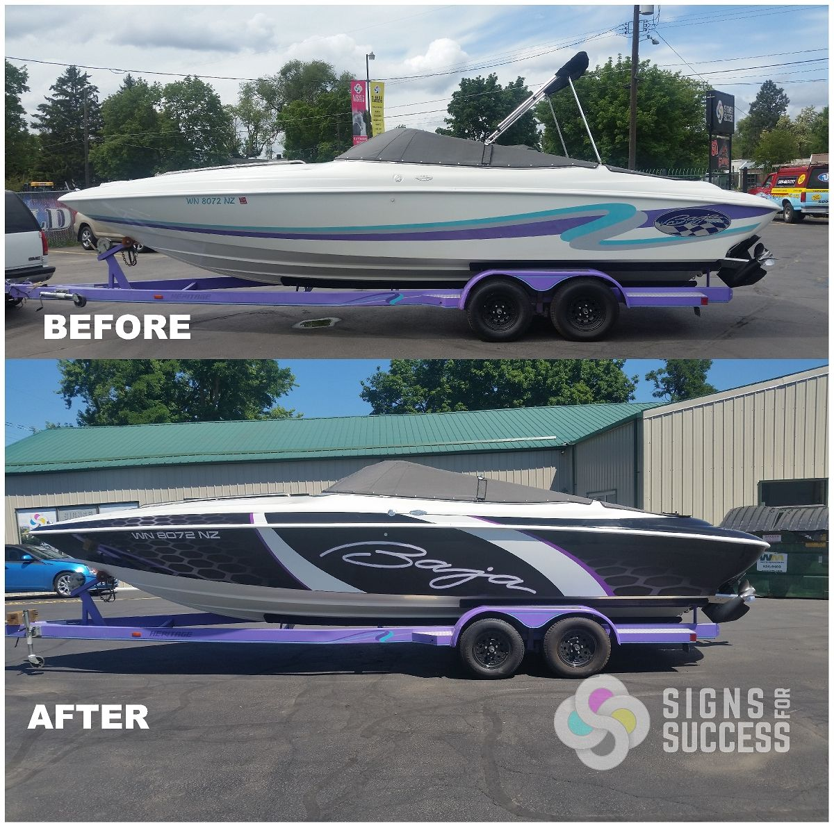 Baja Boat Vinyl Wrap With Cool Carbon Fiber Look Boat