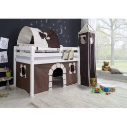 Photo of Halbhohes Spielbett Alex-13 Buche massiv weiß lackiert mit Stoffset Vorhang, 1-er Tunnel, Turm, Tasc