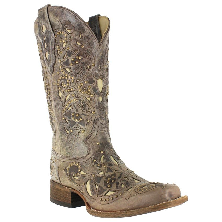 d445eb5b63c Corral Women's Vintage Inlay and Stud Square Toe Western Boots | One ...