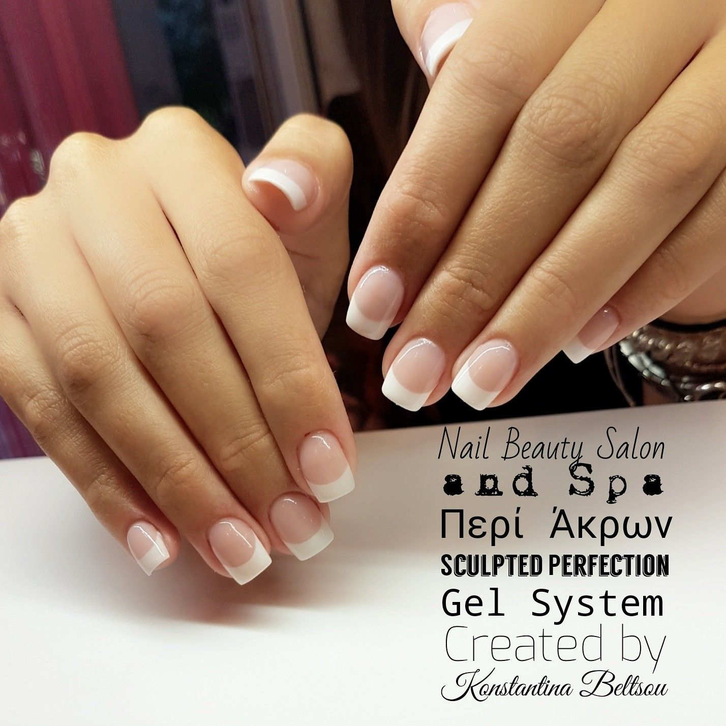 Short nails square shape nails, Acrylic nails, French manicure ...