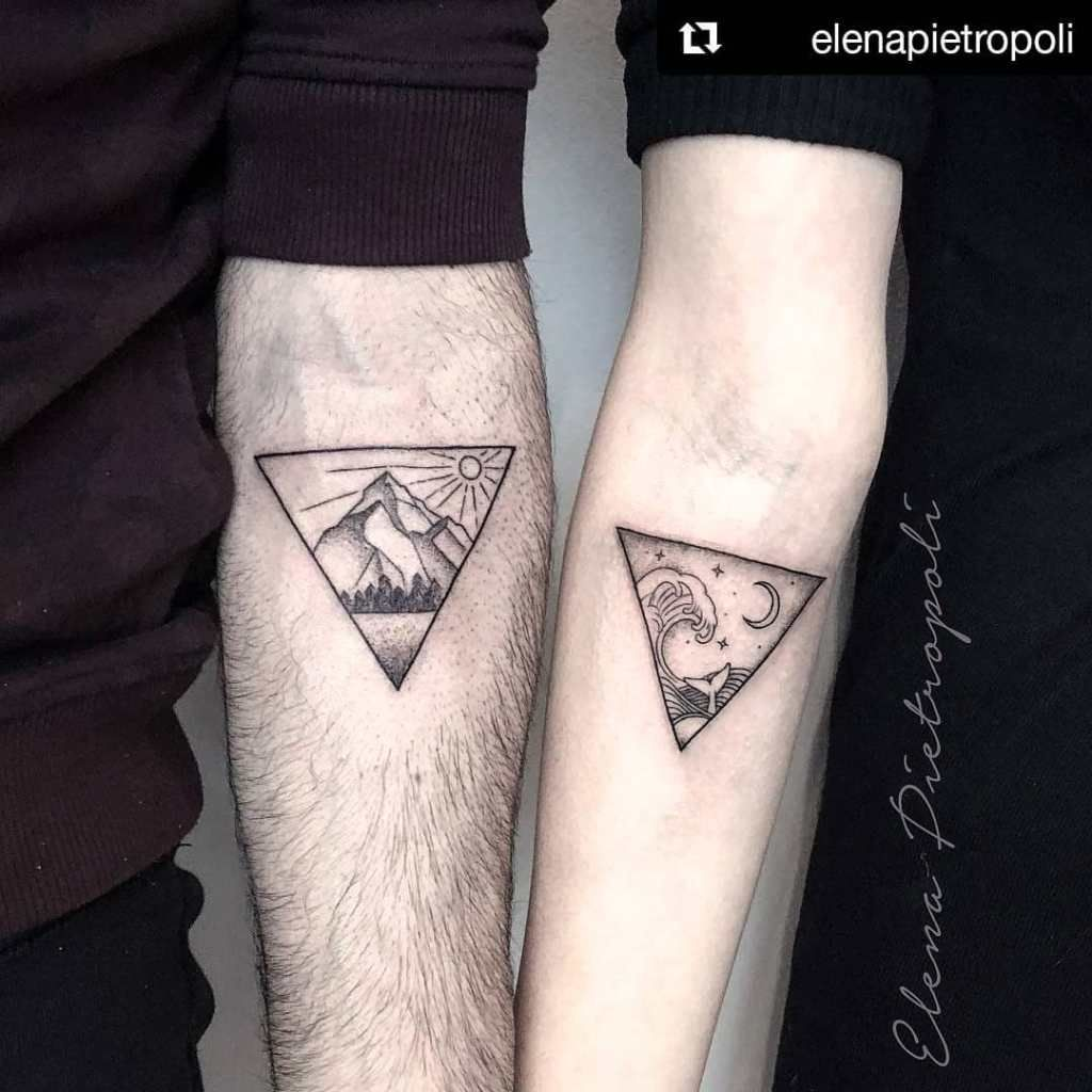 Photo of 33 Triangle Couple Tattoo Designs For The Love of Geometry