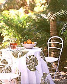 Leafy table cloth - leaf prints on canvas from Martha Stewart crafts