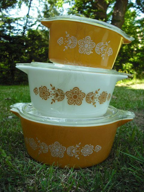 STOREWIDE SALE set of pyrex Butterfly Gold round Casserole dishes in great vintage condition. $40.00, via Etsy.