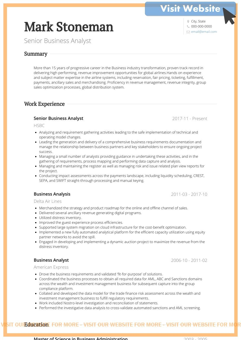10+Business Analyst Resume Examples in 2020 Business