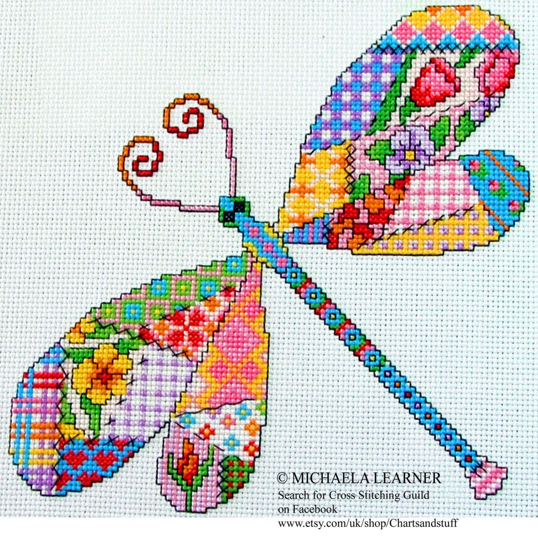 Patchwork Dragonfly Cross Stitch Instant Download PDF Pattern ...