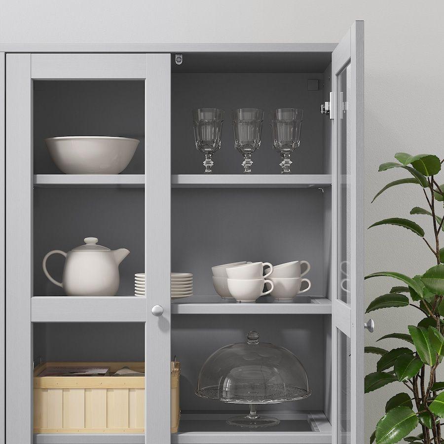 Havsta Storage Combination W Glass Doors Gray 95 5 8x14 5 8x52 3 4 Ikea In 2020 Glass Cabinet Doors Glass Shelves Kitchen Sliding Glass Door