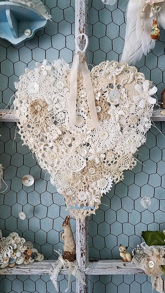 Crochet Doily Heart, Doily Heart, Valentine Heart Wall Hanging, Wire ...