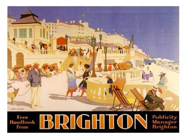 VINTAGE 1930/'S VISIT BRIGHTON AT NIGHT RAILWAY TOURISM A3 POSTER RE PRINT