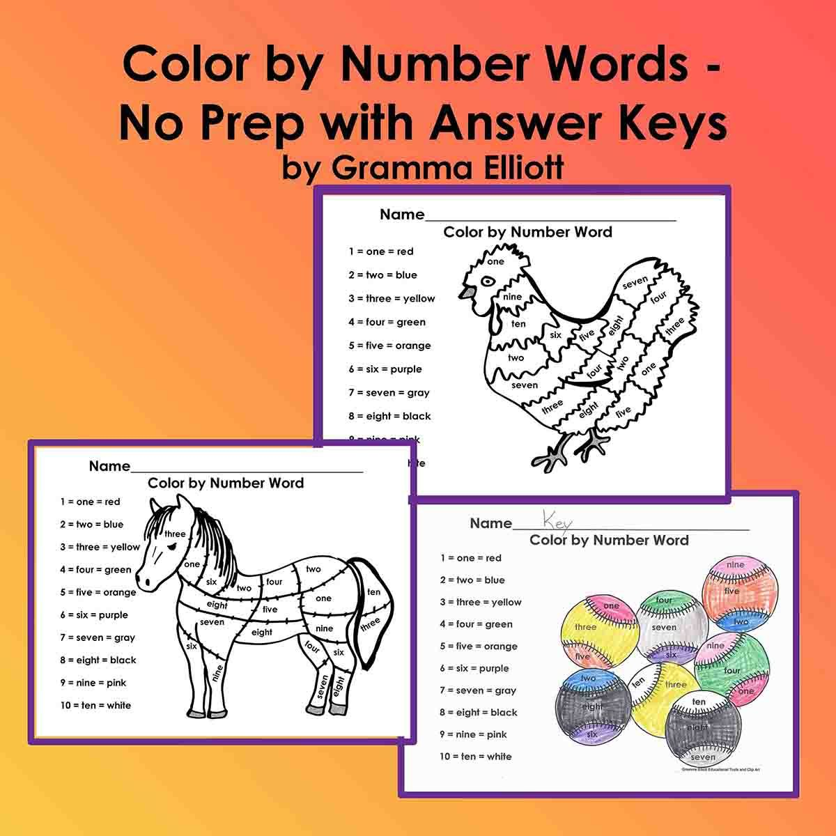 Color By Number Words 6 No Prep Worksheets With Answer