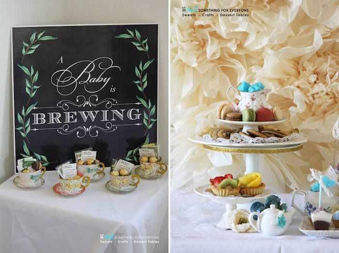 paper tea cup favors  sweets from a baby shower tea party via, Baby shower invitation