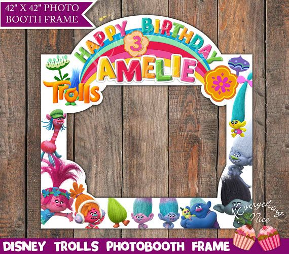f5c11d04b03 Trolls Birthday Photo Booth Frame LANDSCAPE Digital, Photo Prop Girl ...