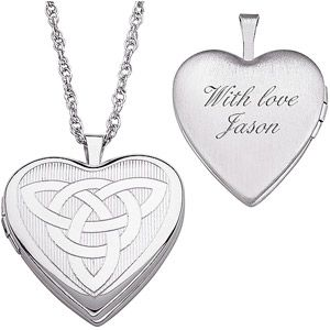 """Personalized Women's Sterling Silver Engraved Celtic Knot Heart Locket Pendant, 20"""" $69"""