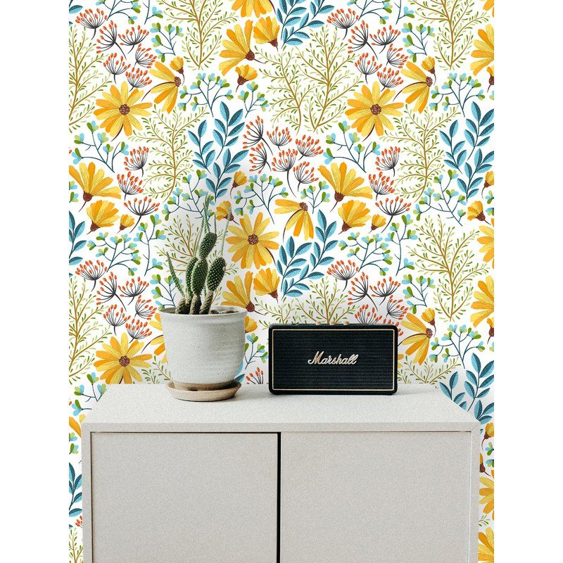 Manley Removable Boho Spring Flowers 6 25 L X 25 W Peel And Stick Wallpaper Roll Peel And Stick Wallpaper Boho Wallpaper Wallpaper Roll