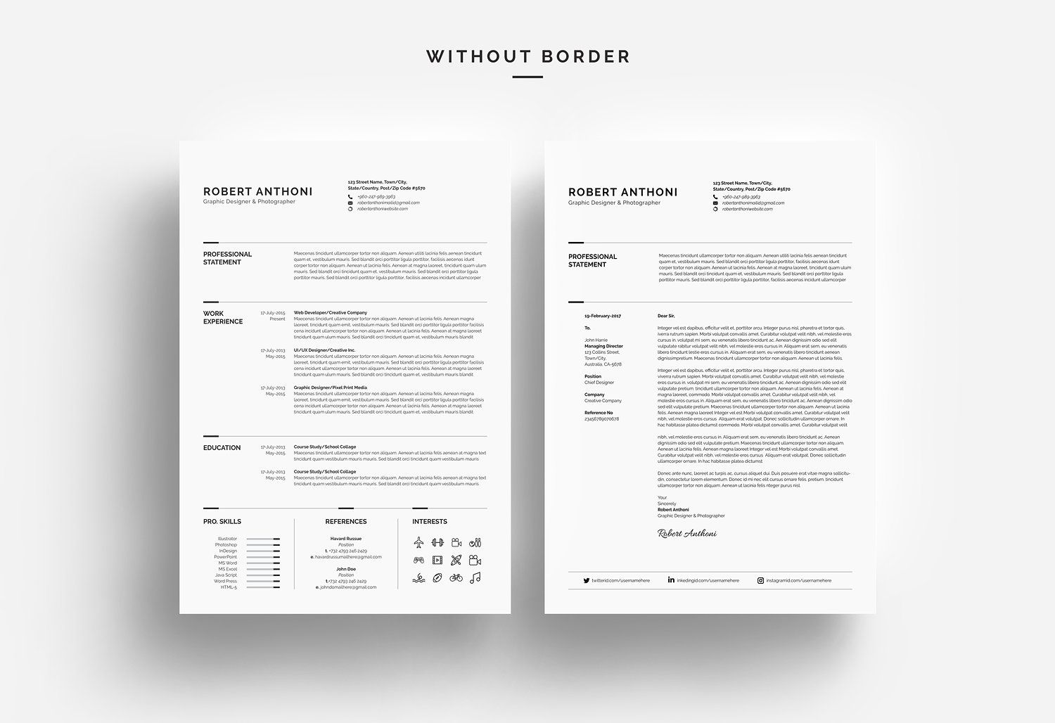 Clean Resume Cv With Images Clean Resume Resume Design
