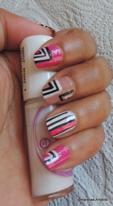 Easy Abstract Nail Art Line Nail Art Abstract Nail Art Nails