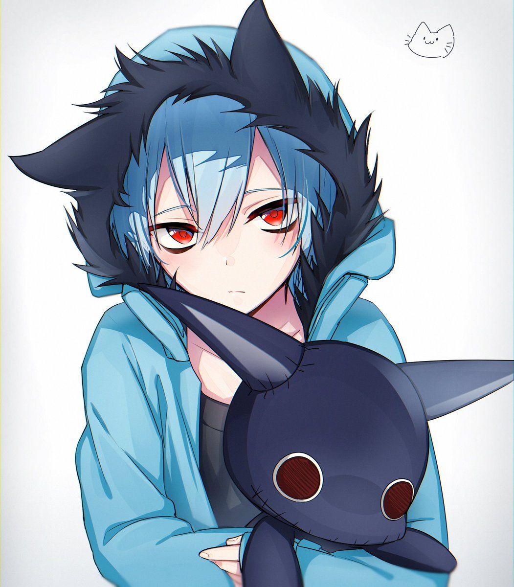 Kuro bambino con il suo peluche dark anime Anime