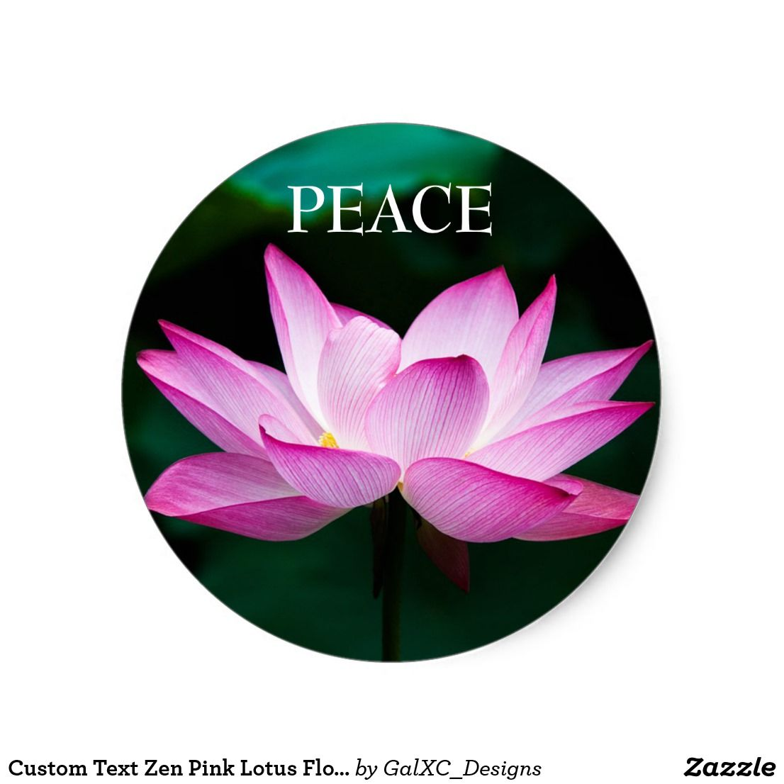 Custom Text Zen Pink Lotus Flower Peace Sticker New Items In